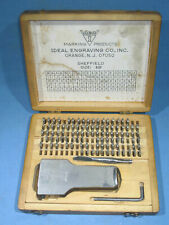 Vintage Ideal Engraving Co 332 Metal Marking Stamping Set H125 Withwood Case