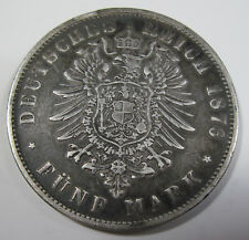 1876 F silver Germany Wurttemburg 5 mark collector coin  (#930f)