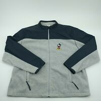 Disney Store Mens Gray Blue Mickey Mouse Full Zip Front Fleece Jacket Size XL