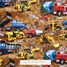 Timeless Treasures Fabric - Earth Moving Construction Vehicles on Brown /Yd