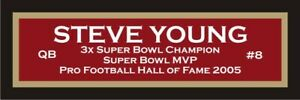 Steve Young color nameplate for signed autographed football photo jersey