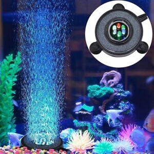 LED Color Changing Aquarium Bubble Round Fish Tank Air Stone Disk Accessories