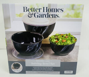 Better Homes & Gardens 6-Piece  Melamine Serving Bowl Set With Lids BLACK MARBLE