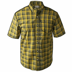 Duluth Trading Men Beergarden Relaxed Fit Short Sleeve Shirt Oakmoss Tall L 3892