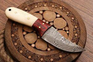 "Beautiful 6.0"" HAND FORGED Damascus Steel Mini Skinner Neck Knife with Sheath"