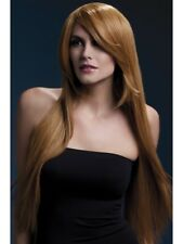 "Light Brown Long 28"" Wig Straight Feather Layer Deluxe Fancy Dress"