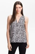 NWT Joie 'Corette' Silk Top Caviar Black/White Cheetah [Sz XS] #846