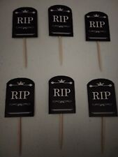 Halloween Cupcake Toppers 12sticks Brand-new Without Tag Handcut RIP Design