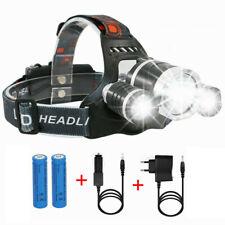 Profi LED Stirnlampe Kopflampe 8000LM 3x XM-L T6 inkl.2x 18650 Akku Ladegerät DE