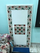 5'x3' White Marble Dining Table Top Carnelian Malachite Floral Inlay Decor E150