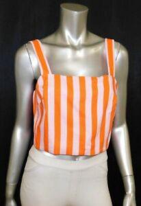 KATE SPADE NEW Orange/Pink Deck Striped Sleeveless Linen Blend Crop Top sz 12
