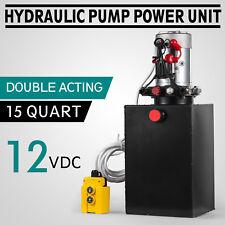 15 Quart Double Acting Hydraulic Pump Dump Trailer Power Unit Truck DC 12V
