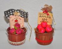 Kurt Adler Apple Baskets Christmas Ornaments Vintage Lot of 2