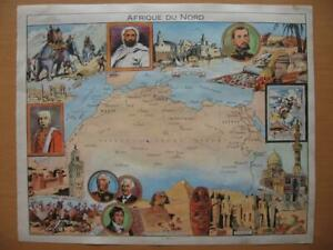 1948 PINCHON Illustrated map MOROCCO ALGERIA EGYPT Champollion Napoleon Hannibal