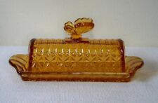 Circleware Limited Edition Amber Brown Glass Butterfly Covered Butter Dish