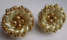 boucle d'oreille clip bijou vintage couleur or perles olive nacre et or 3311