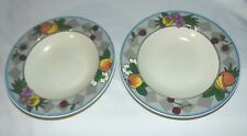 Set 2 MIKASA Studio Kraft Harvest Time Flat Rim Soup Pasta Bowls Fruit Design 9""