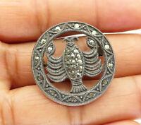 925 Sterling Silver - Vintage Marcasite Scorpio Zodiac Brooch Pin - BP3798