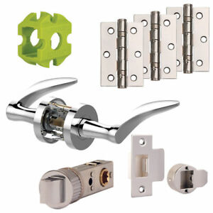 Jigtech VECTA New Door Handles Pack Hinge - Latch Pack Polished - Satin Chrome