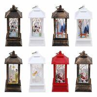 Christmas Vintage LED Lantern,Hanging Snow Globe Castle Shape Lantern Night Lamp