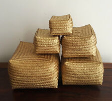 Baskets/boxes, bamboo, gold, decorative, 5 in 1, storage, planter, gift, decor