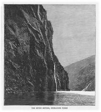 NORWAY The Seven Sisters, Geiranger Fjord - Antique Print 1886