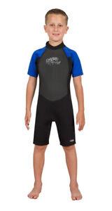 Hyperflex Access Unisex Child's 2mm Back Zip Shorty Wetsuit - Black/Blue, Size 4