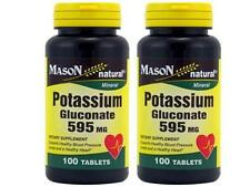 2 X 100 = 200 Tablets Potassium Gluconate 595 mg Supplement Heart blood pressure