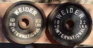 Pair Weider International Olympic Free Weight Plates 22Lb 10kg T