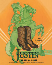 JUSTIN BOOTS & SHOES - VIVA! EL CAMPEON ADVERTISING POSTER