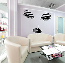 Vinyl Wall Decal Beauty Salon Makeup Sexy Eyes Eyelashes Lips Stickers (1365ig)