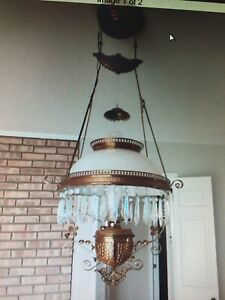 Antique Hanging Oil Lamp - Electrified - Polished Brass, Beautiful!