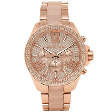 MICHAEL KORS MK6096 ROSE GOLD PAVE CRYSTALS WREN CHRONOGRAPH WATCH