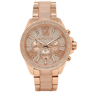 MICHAEL KORS MK6096 ROSE GOLD PAVE CRYSTALS WREN CHRONO ANALOGUE WATCH + BAG