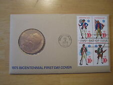 "Bicentennial Medal & First Day Cover July 4, 1975, Bronze Paul Revere, 1-1/2"" OD"