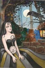 8x10 PRINT OF PAINTING RYTA CROW HALLOWEEN GOTHIC CLOCK COSTUME STEAMPUNK GIRL