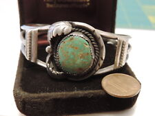 Old Pawn Silver Turquoise stone Cuff South western Bracelet  10b 48