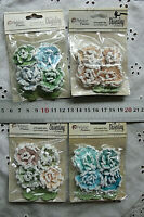 4 Paper Frosted Roses 3cm+ Leaves 18x30mm Darjeeling - 4 Colour Choice - Petaloo