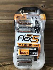 BIC Flex 5 Hybrid Men's 5-Blade Disposable Razor, 1 Handle and 6 Cartridges