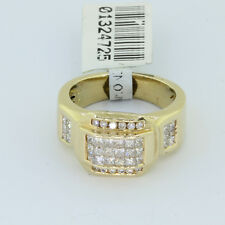SALE:Unisex Solid 14k Yellow Gold 1.5 CT Round & Princess Cut White Diamond Ring