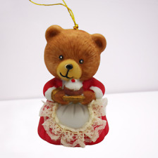 Vintage Jasco Christmas Bear Bell Ornament Lil Chimer Bisque Lace Apron Momma