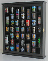 41 Shot Glass Display Case Rack Holder Wall Cabinet, Shadow Box SC03-BLA