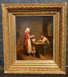 ANTIQUE DUTCH 19TH C. PAINTING INTERIOR GENRE SCENE OLD MASTER SCHOOL
