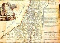 Antique 1770's map of tribe of Israel  Carte des Douze Tribus d'Israel by Bonne