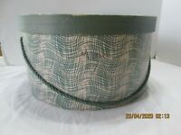 Hat Box Vintage Green & White   Green Cord  Leslie & Rickard