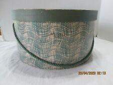 Hat Box Vintage Green & White   Green Cord  Leslie & Rickard