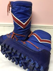 Vintage 70s 80s Moon SNOW GRIPPS Winter Boots Quilted Nylon Retro Women 7-8 Blue