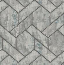 Wallpaper Designer Large Gray Blue Geometric Link on Faux