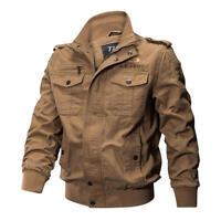 Herren Außen Taktisch Gewaschene Baumwolle Militär Jacken Bomber Cargo Mantel