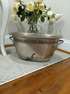 Pottery Barn  Stainless Steel Party ice Bucket grape vine